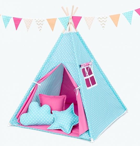 Stan pro děti teepee, týpí s Výbavou - hrášek tyrkys/tmavě růžový