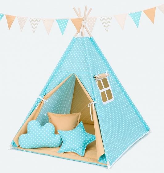 Stan pro děti teepee, týpí s výbavou  - hrášek tyrkys/medový