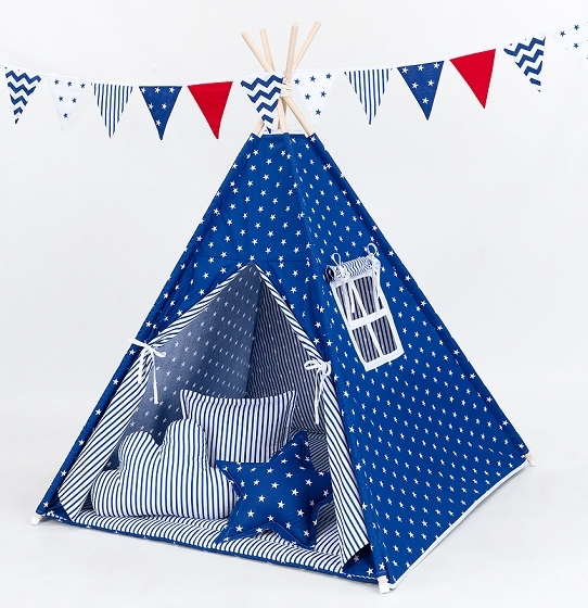Stan pro děti teepee, týpí s výbavou - hvězdičky bílé na modrém/modré proužky