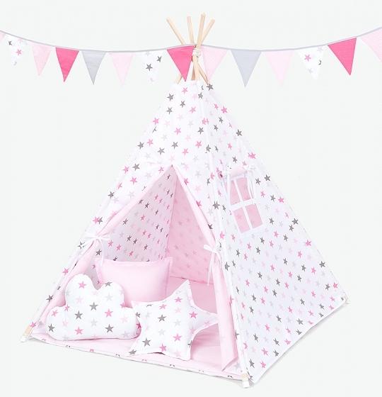 Stan pro děti teepee, týpí s výbavou - hvězdy šedé a růžové/světle růžový
