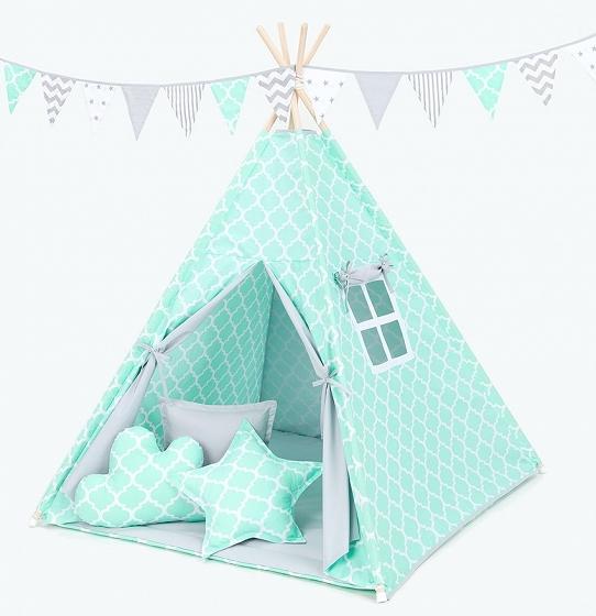 Stan pro děti teepee, týpí s výbavou - maroko máta/šedý