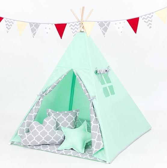 Stan pro děti teepee,Týpí s výbavou - máta/maroko šedé