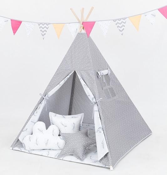 Mamo Tato Stan pro děti teepee, týpí s výbavou - mini hvězdičky bílé na šedém/víly šedé