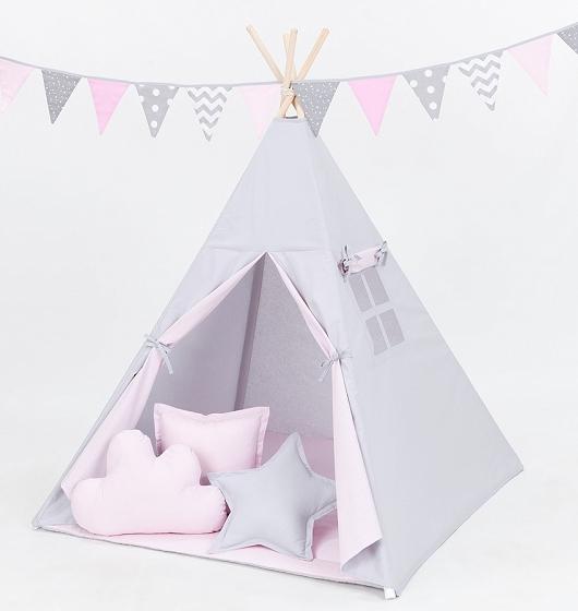Stan pro děti teepee, týpí s Výbavou - šedý/světle růžový