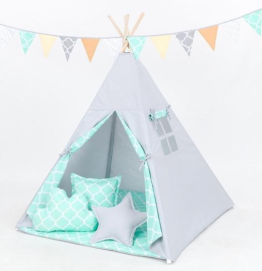 Stan pro děti teepee, týpí s výbavou - šedý/maroko máta