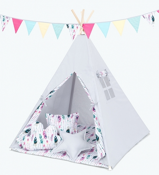 Stan pro děti teepee, týpí s výbavou - šedý/barevné pírko
