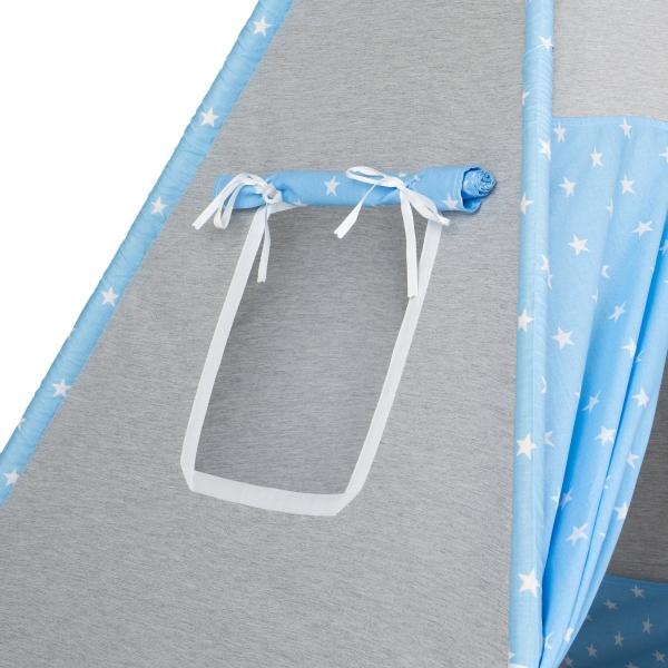 Mamo Tato Stan pro děti teepee, týpí s výbavou - šedý/barevné pírko