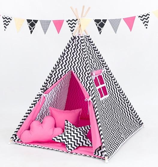 Stan pro děti teepee, týpí s Výbavou - cikcak černý/ tmavě růžový