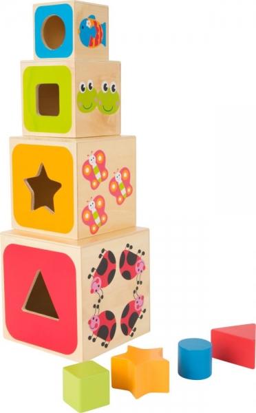 Dřevěná věž z kostek - ABC