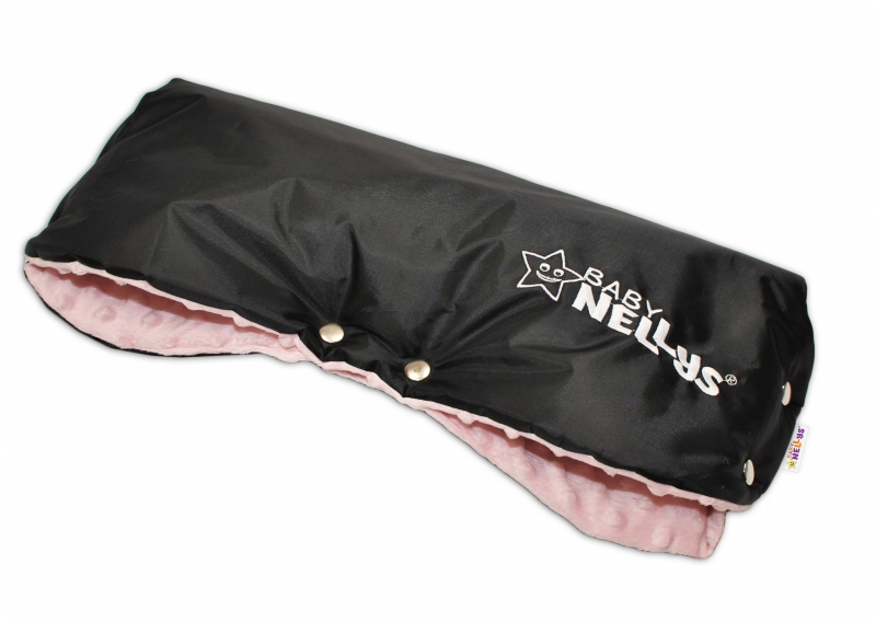 Rukávník ke kočárku Baby Nellys ® minky - sv. růžová/černý
