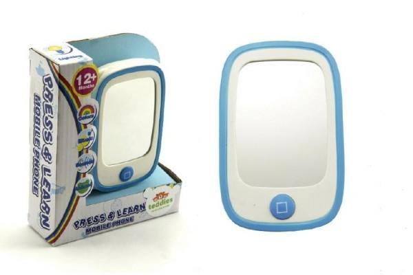 Telefon plast 11x7cm se zrcátkem na baterie se zvukem se světlem v krabičce (1ks)