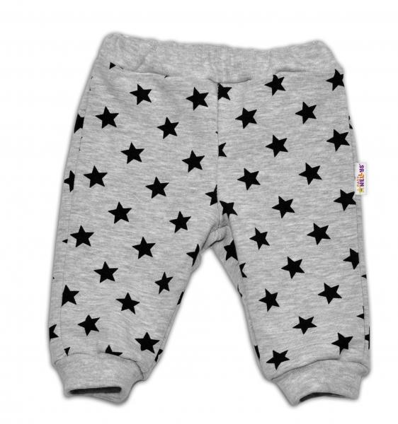 Bavlněná tepláková souprava Baby Nellys ® - Hvězdičky černé/šedá, Velikost: 56 (1-2m)