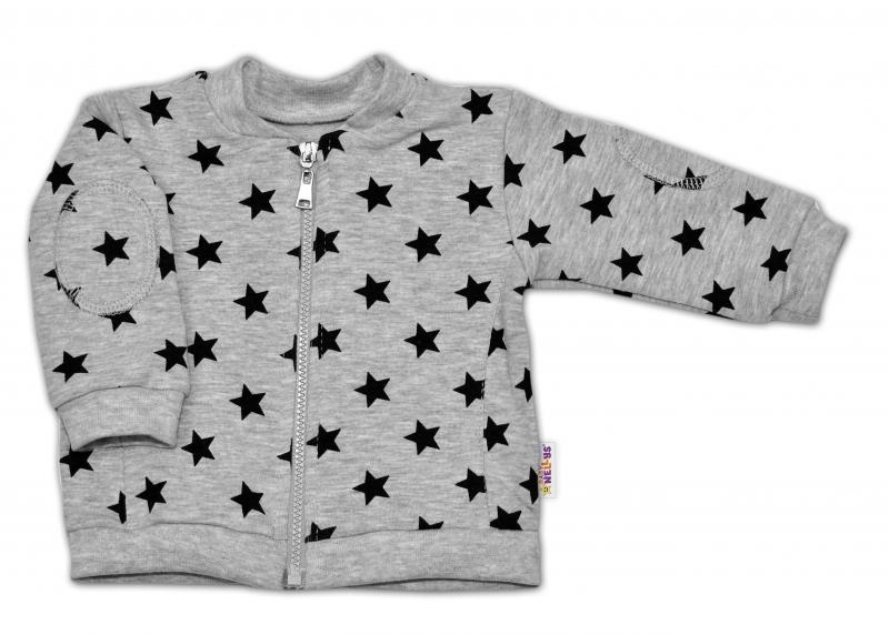 Bavlněná tepláková souprava Baby Nellys ® - Hvězdičky černé/šedá - vel. 74