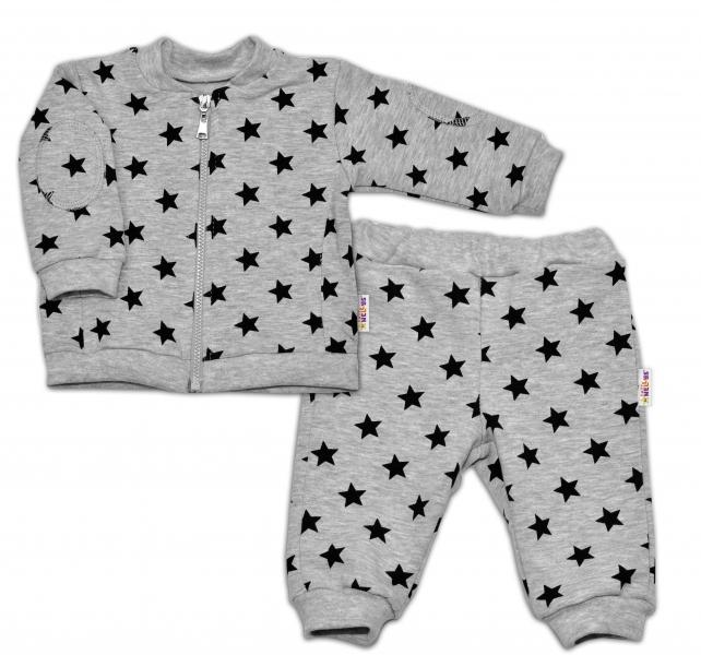 Bavlněná tepláková souprava Baby Nellys ® - Hvězdičky černé/šedá - vel. 80vel. 80 (9-12m)
