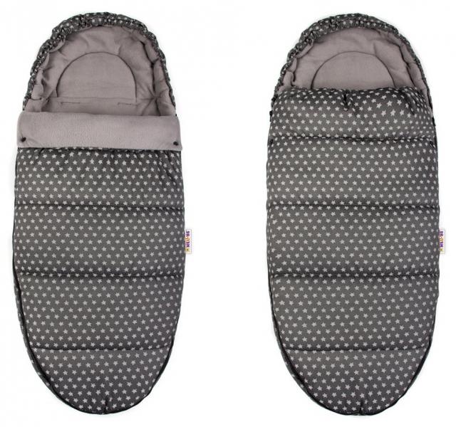 Fusák Maxi Baby Nellys ® 105x50cm - hvězdičky Stars - tmavě šedé