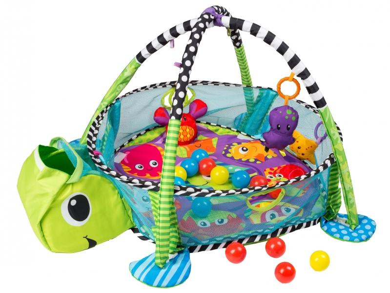 Vzdělávací hrací deka s 30 míčky Eco Toys - Želvička
