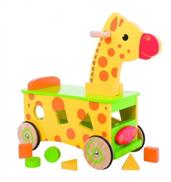 BIGJIGS Edukační dřevěné jezdítko, odrážedlo - Žirafa