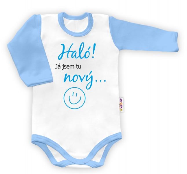 Baby Nellys Body dlouhý rukáv Haló! Já jsem tu nový... - klukvel. 48/52