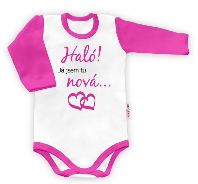 Baby Nellys Body dlouhý rukáv vel. 68, Haló! Já jsem tu nová... - holka,