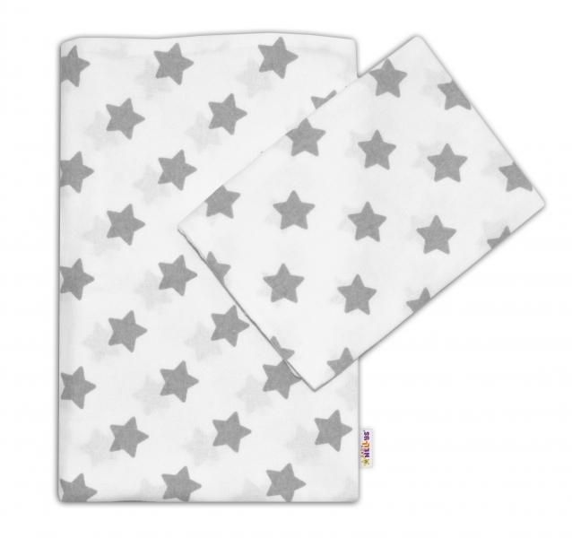 Flanelové povlečení 135x100 Baby Nellys ® - Hvězdy šedé v bílé