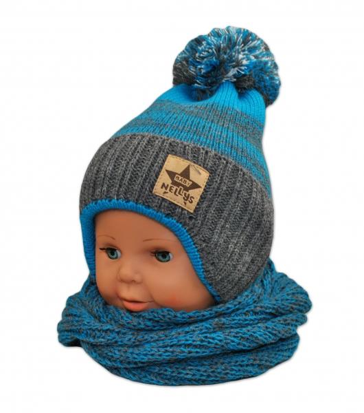 BABY NELLYS Zimní čepička s komínkem - tyrkys/grafit