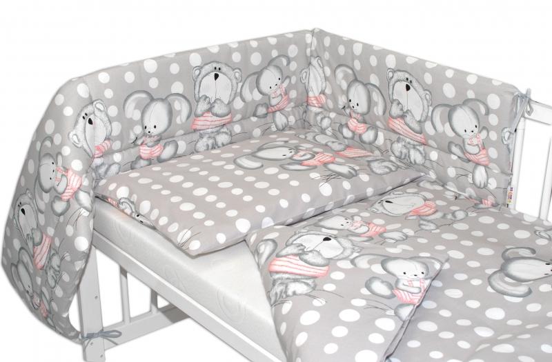 Baby Nellys Mantinel s povlečením 135x100 cm, Medvídek s králíčkem Bubble - šedý