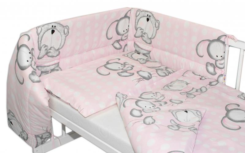Baby Nellys Mantinel s povlečením  Medvídek s králíčkem bubble - růžový