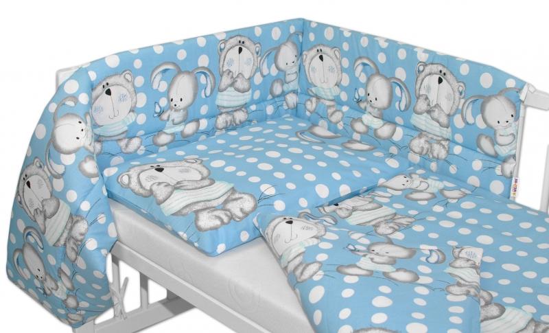 Baby Nellys Mantinel s povlečením  Medvídek s králíčkem Bubble  - modrý