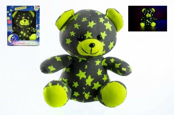 Teddies Medvídek svítící ve tmě 21cm šedý/žlutý plyš