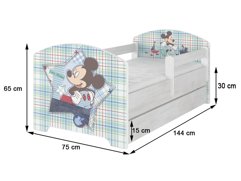 Dětská postel HELI v barvě světlý dub + matrace zdarma