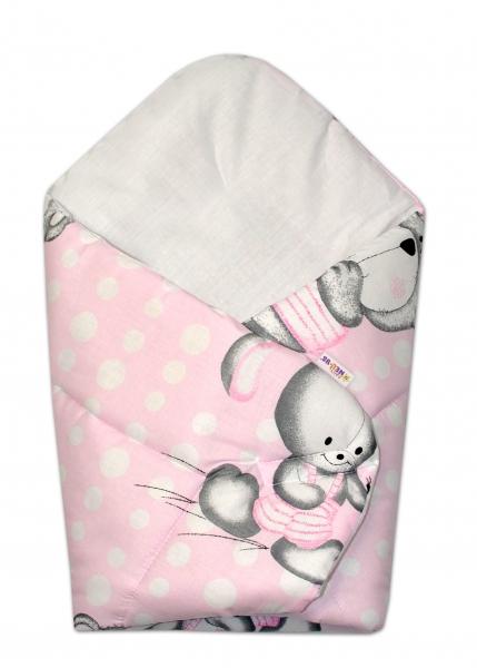 Novorozenecká zavinovačka Medvídek s králíčkem Bubble, 75x75 cm - růžová