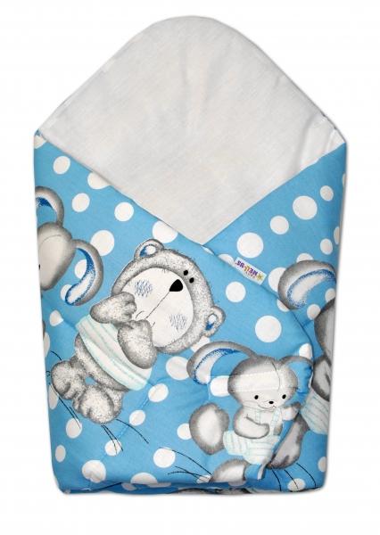 Baby Nellys  Novorozenecká zavinovačka Medvídek s králíčkem Bubble, 75x75 cm - modrá
