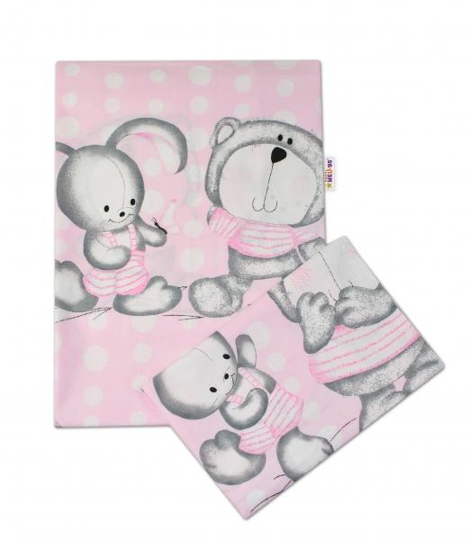 Baby Nellys 2-dílné bavlněné povlečení Medvídek s králíčkem Bubble - růžové - 135x100cm