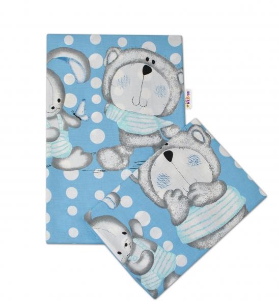2-dílné bavlněné povlečení Medvídek s králíčkem Bubble - modré - 135x100cm