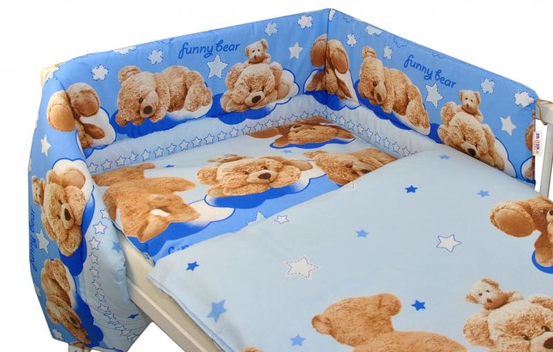 Baby Nellys Mantinel s povlečením 135x100 cm, Medvídek hvězdička - modrý