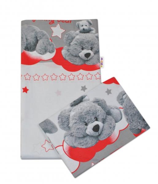 Baby Nellys 2-dílné bavlněné povlečení Medvídek hvězdička - šedé s červenou - 135x100cm