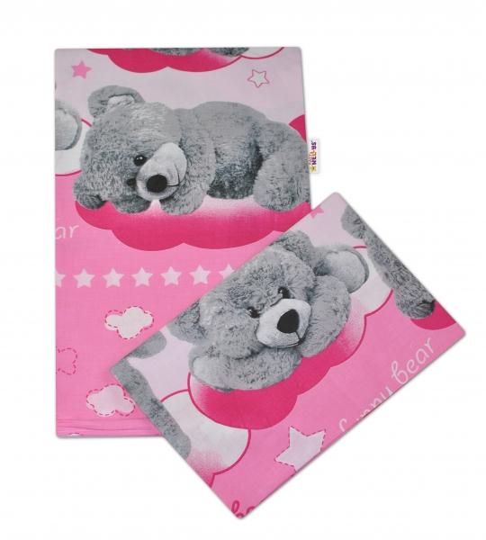 Baby Nellys 2-dílné bavlněné povlečení Medvídek hvězdička - růžové - 135x100cm