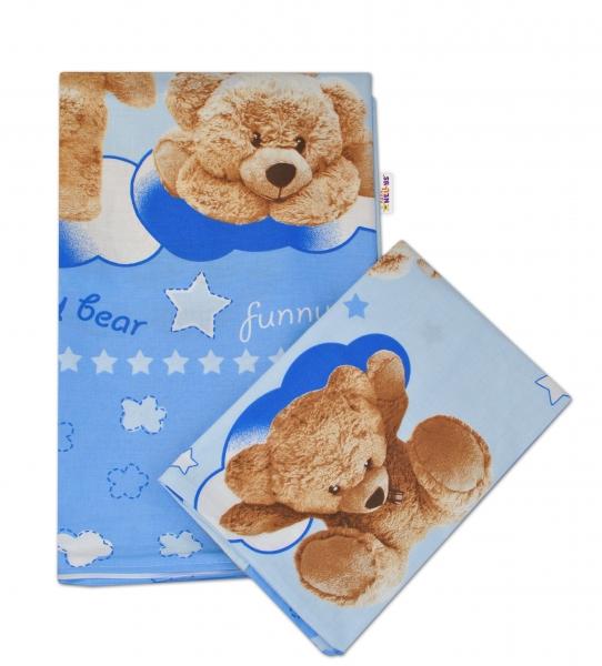 Baby Nellys 2-dílné bavlněné povlečení Medvídek hvězdička - modré - 135x100cm