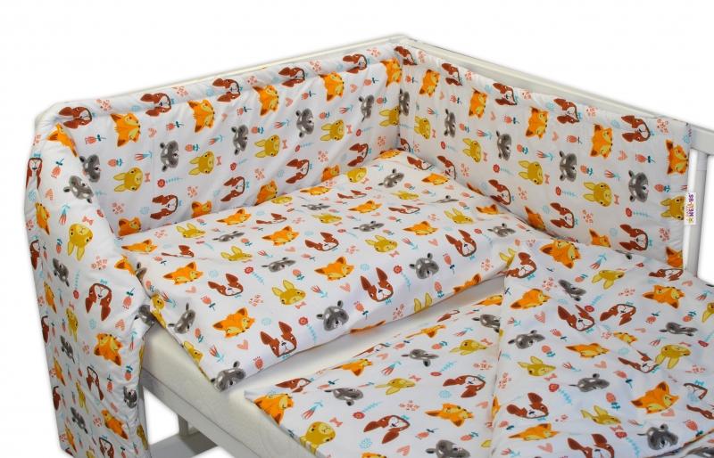 Baby Nellys Mantinel s povlečením 135x100 - Forest - bílé