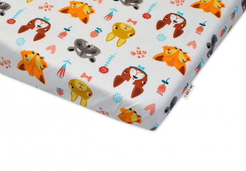 Bavlněné prostěradlo Baby Nellys - FOREST - bílé - rozměr: 120x60cm,bavlna Kolekce: FOREST