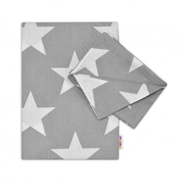 Baby Nellys 2-dílné bavlněné povlečení 135x100 - Big Stars - šedé