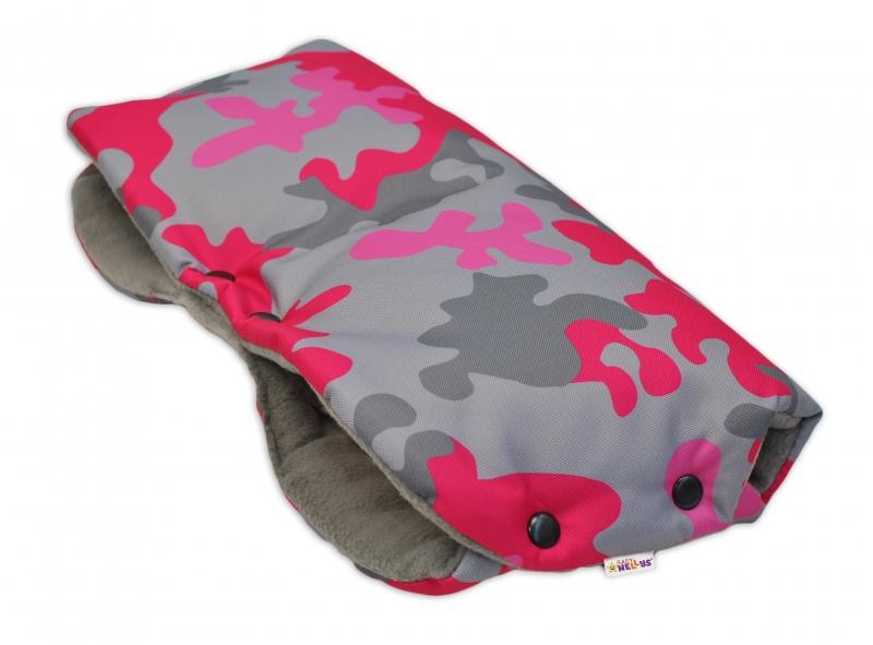 Rukávník ke kočárku Baby Nellys ® flees - ARMY růžový maskáč