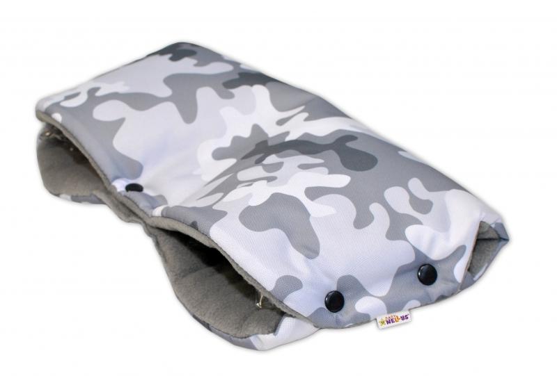 Rukávník ke kočárku Baby Nellys ® flees - Army šedý maskáč