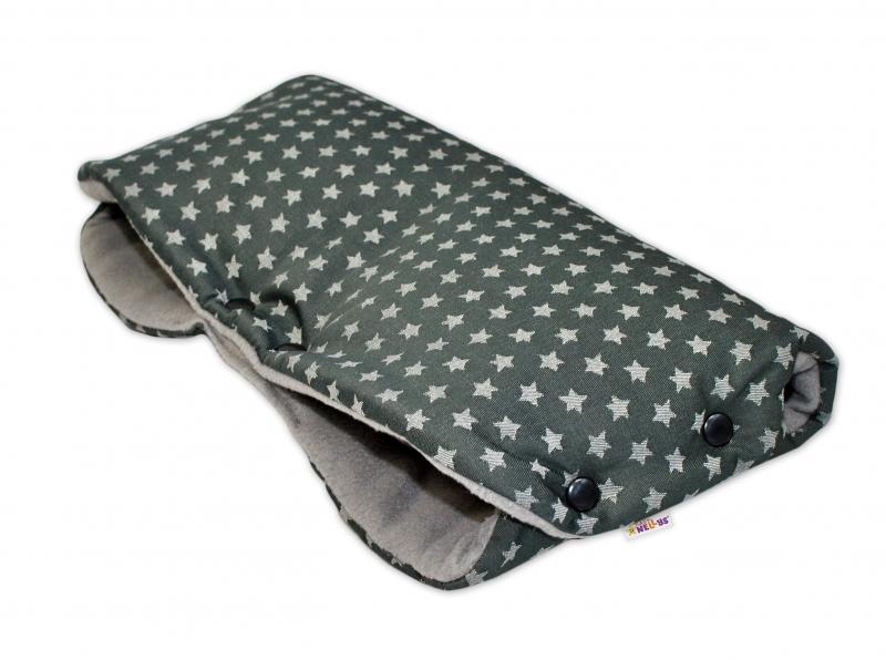 Rukávník ke kočárku Baby Nellys ® flees - hvězdičky STARS - tmavě šedé
