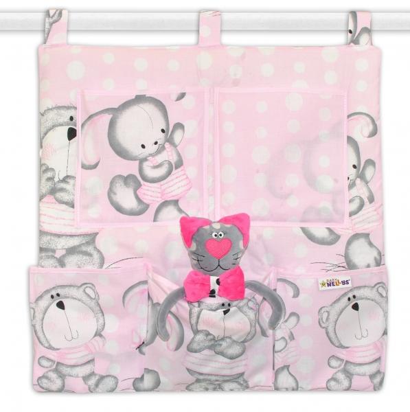 Baby Nellys  Kapsář na postýlku Medvídek s králíčkem Bubble - růžový