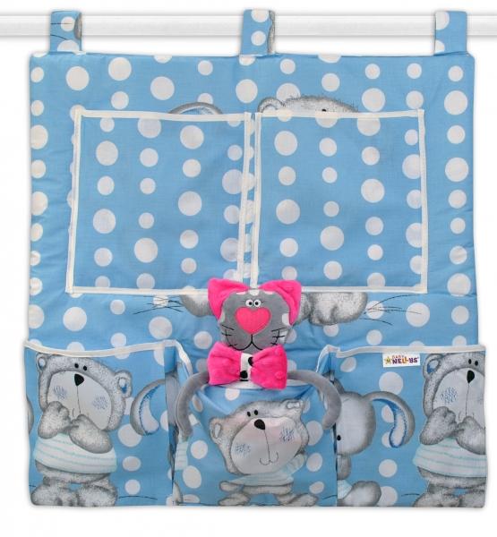 Kapsář na postýlku Medvídek s králíčkem Bubble - modrý