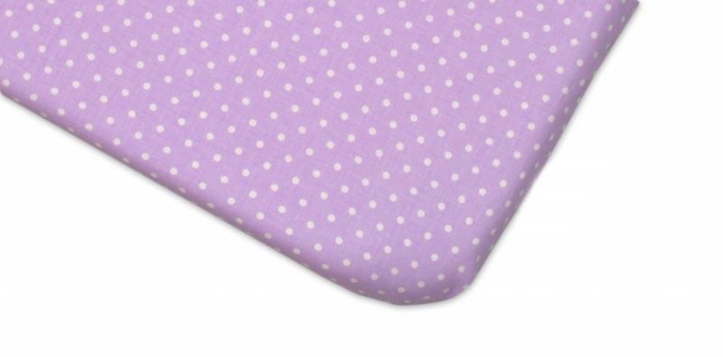 Mamo Tato Bavlněné prostěradlo 60x120cm -  Tečky fialové