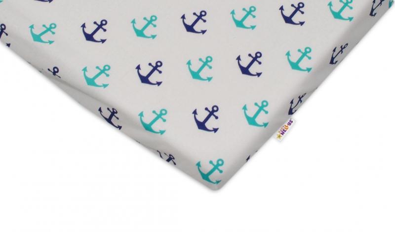 Bavlněné prostěradlo 60x120cm - Kotvičky - rozměr: do postýlky 120x60cm, Baby Nellys ®