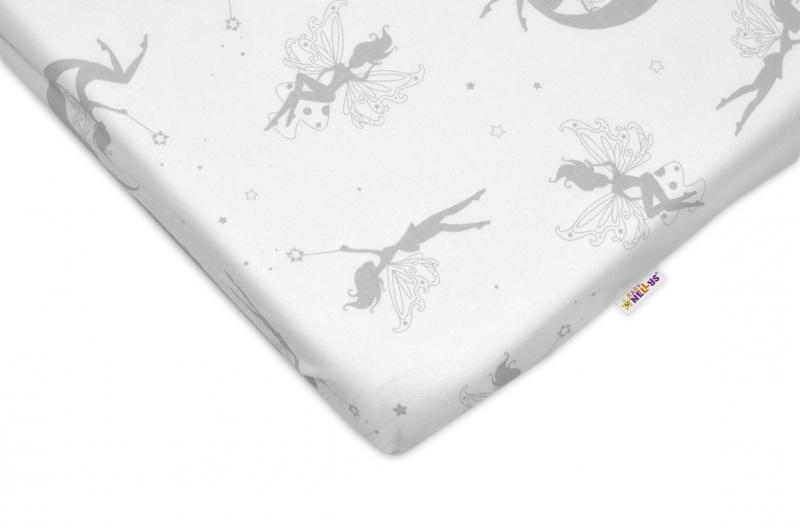 Bavlněné prostěradlo 60x120cm - Víly šedé