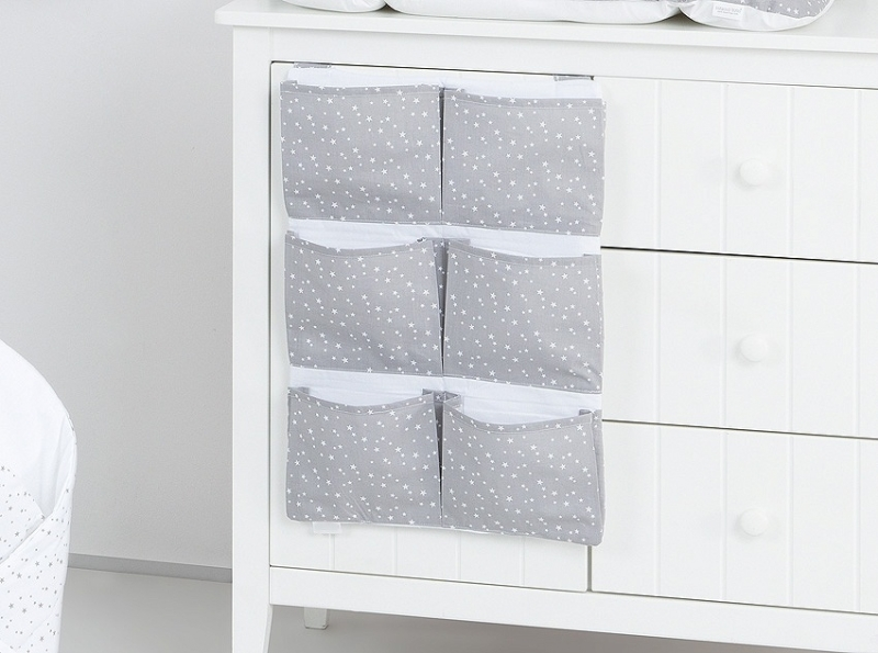 Kapsář 40 x 65 cm - Mini hvězdičky bílé na šedém podkladu